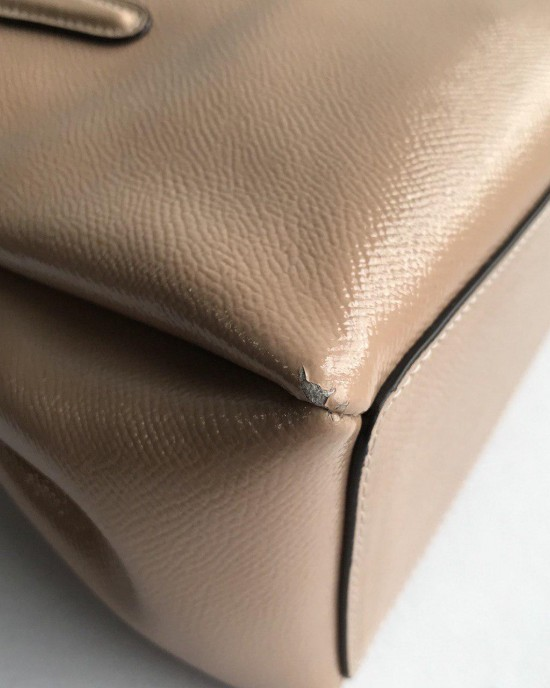 AS IS : COACH MINI SAGE CARRYALL (BEECHWOOD/LIGHT GOLD) MINOR DEFECT
