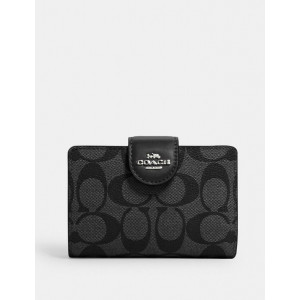 COACH MEDIUM CORNER ZIP WALLET IN SIGNATURE CANVAS (SILVER/BLACK/SMOKE BLACK)