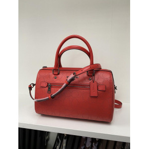 COACH ROWAN SATCHEL IN SIGNATURE LEATHER (QB/MIAMI RED)