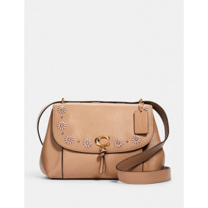 COACH REMI SHOULDER BAG WITH WHIPSTITCH DAISY APPLIQUE (IM/TAUPE)