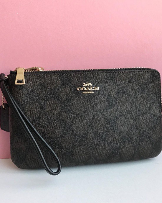 COACH DOUBLE ZIP WALLET IN SIGNATURE COATED CANVAS (IM GOLD/BLACK BROWN)