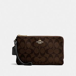 COACH DOUBLE ZIP WALLET IN SIGNATURE CANVAS (IM/BROWN/BLACK)