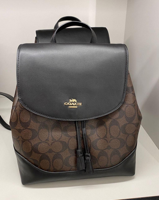 COACH ELLE BACKPACK IN SIGNATURE CANVAS (IM/BROWN BLACK)