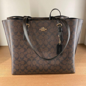 COACH MOLLIE TOTE IN SIGNATURE CANVAS (IM/BROWN BLACK) - ETA (ESTIMATED TIME ARRIVAL) MALAYSIA 26TH OCTOBER