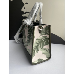 COACH DEMPSEY CARRYALL WITH BANANA LEAVES PRINT (SV/CARGO GREEN CHALK MULTI)
