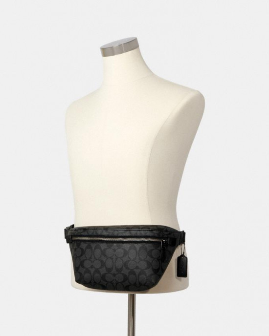 COACH GRADE BELT BAG IN SIGNATURE CANVAS (QB/CHARCOAL/BLACK)