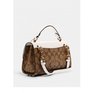 COACH TILLY SATCHEL 23 IN SIGNATURE CANVAS (IM/KHAKI/CHALK)