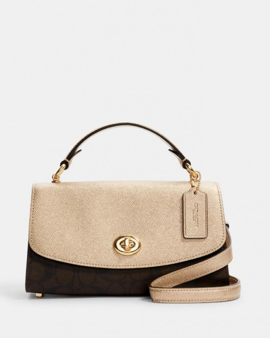 COACH TILLY SATCHEL 23 IN SIGNATURE CANVAS (IM/BROWN/METALLIC PALE GOLD)