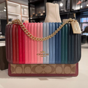 COACH KLARE CROSSBODY WITH RAINBOW LINEAR QUILTING (IM/KHAKI/CANDY PINK MULTI) - ETA (ESTIMATED TIME ARRIVAL) MALAYSIA 28 FEBRUARY
