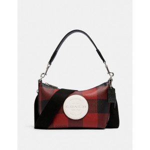 COACH DEMPSEY SHOULDER BAG WITH BUFFALO PLAID PRINT AND COACH PATCH (SILVER/BLACK/1941 RED MULTI)