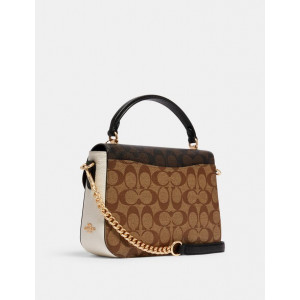 COACH MARLIE TOP HANDLE SATCHEL IN BLOCKED SIGNATURE CANVAS (IM/KHAKI BROWN MULTI) - ESTIMATED TIME ARRIVAL (ETA) 26 APRIL 2021