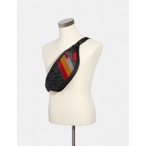 PRE ORDER - COACH WARREN BELT BAG IN SIGNATURE WITH DIAGONAL STRIPE (QB/CHARCOAL MULTI)