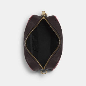 COPACH DEMPSEY CAMERA BAG IN SIGNATURE JACQUARD WITH STRIPE AND COACH PATCH (IM/BLACK WINE MULTI)