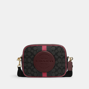 COPACH DEMPSEY CAMERA BAG IN SIGNATURE JACQUARD WITH STRIPE AND COACH PATCH (IM/BLACK WINE MULTI)
