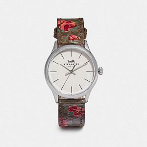 COACH RUBY ROSE LEATHER STRAP WATCH