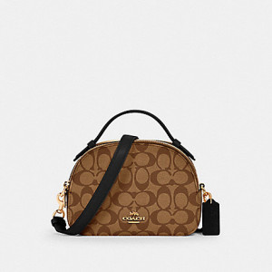 COACH SERENA SATCHEL IN SIGNATURE CANVAS (IM/KHAKI/BLACK)