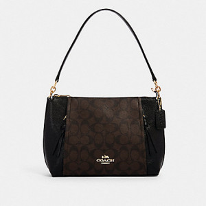 COACH SMALL MARLON SHOULDER BAG IN SIGNATURE CANVAS (IM/BROWN/BLACK)