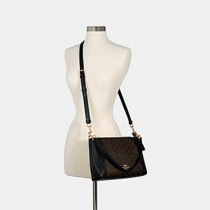 COACH SMALL MARLON SHOULDER BAG IN SIGNATURE CANVAS (IM/BROWN/BLACK)
