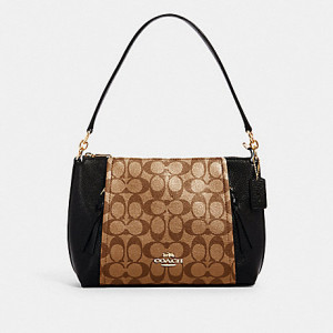 COACH SMALL MARLON SHOULDER BAG IN SIGNATURE CANVAS (IM/KHAKI/BLACK)