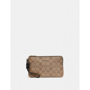 COACH DOUBLE ZIP WALLET IN SIGNATURE CANVAS (IM/KHAKI/BLACK)