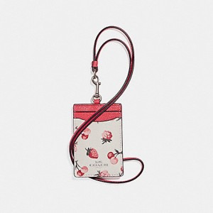 COACH SIGNATURE LANYARD ID (SILVER FRUIT CHALK MULTI)