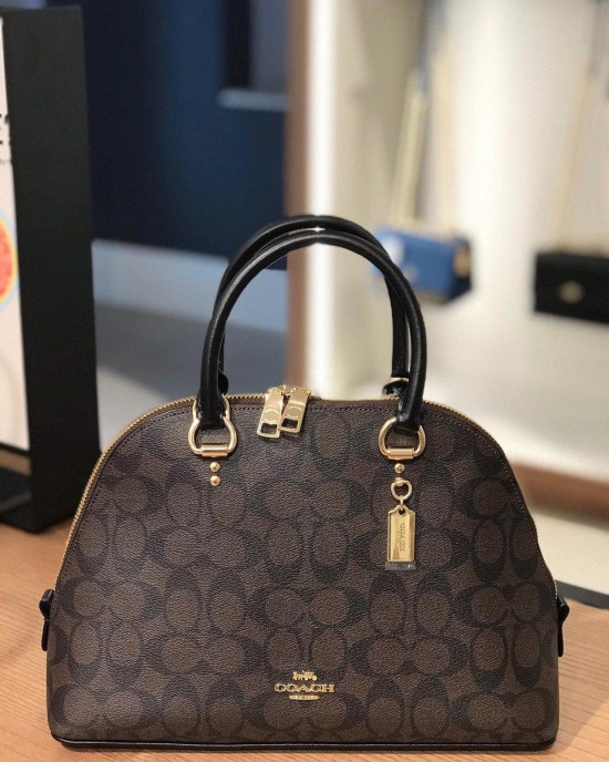 COACH KATY SATCHEL IN SIGNATURE  (IM/BROWN BLACK)