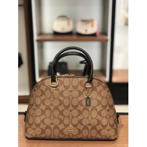 COACH KATY SATCHEL IN SIGNATURE CANVAS (M/KHAKI SADDLE 2)