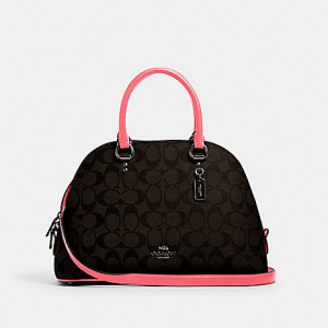 COACH KATY SATCHEL IN SIGNATURE CANVAS (QB/BROWN PINK LEMONADE)