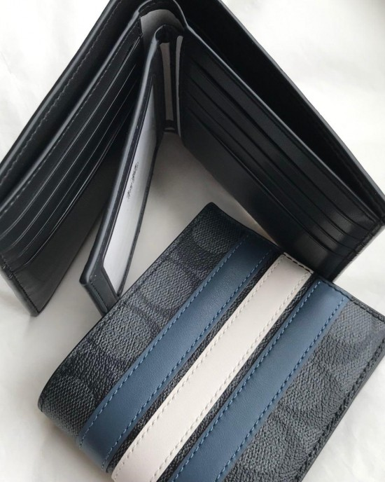 COACH COMPACT 3-IN-1 WALLET IN SIGNATURE  WITH VARSITY STRIPE (MIDNIGHT NVY/DENIM/CHALK)