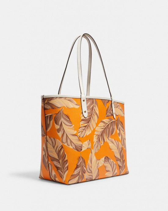 COACH REVERSIBLE CITY TOTE WITH BANANA LEAVES PRINT (IM/MULTI/REDWOOD)