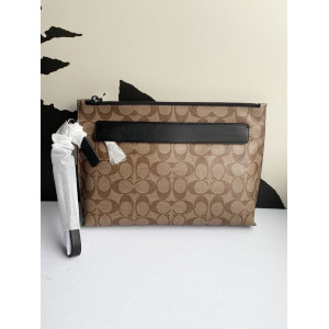 COACH CARRYALL POUCH IN SIGNATURE (TAN/BLACK)
