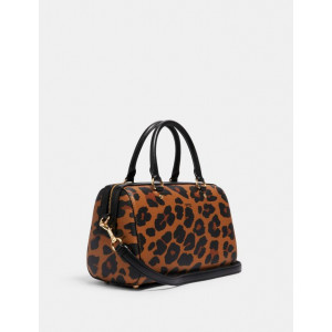 COACH ROWAN SATCHEL WITH LEOPARD PRINT (IM/LIGHT SADDLE MULTI)