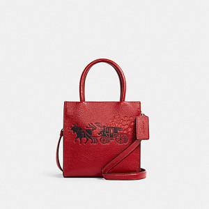 COACH LUNAR NEW YEAR MINI CALLY CROSSBODY WITH OX AND CARRIAGE (IM/1941 RED MULTI)