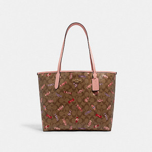 COACH CITY TOTE IN SIGNATURE CANVAS WITH CANDY PRINT (IM/KHAKI MULTI)