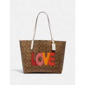COACH CITY TOTE IN SIGNATURE CANVAS WITH LOVE PRINT (IM/KHAKI/CHALK MULTI)
