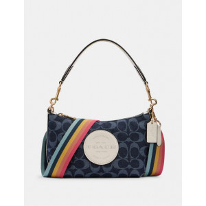 COACH DEMPSEY SHOULDER BAG IN SIGNATURE JACQUARD WITH PATCH (IM/DENIM MULTI)