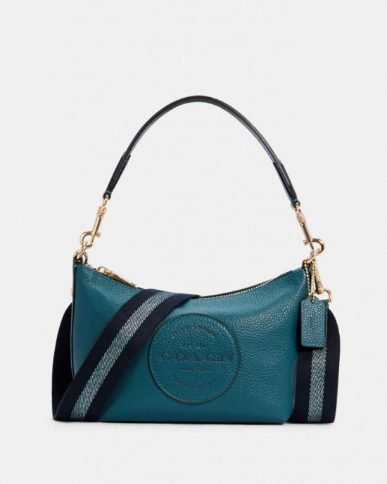 COACH DEMPSEY SHOULDER BAG WITH PATCH (IM/TEAL INK)