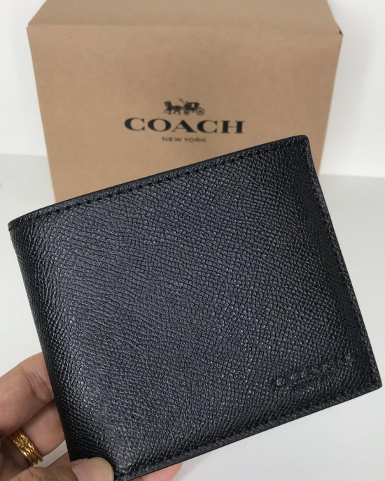 COACH COMPACT ID IN CROSSGRAIN LEATHER (BLACK)