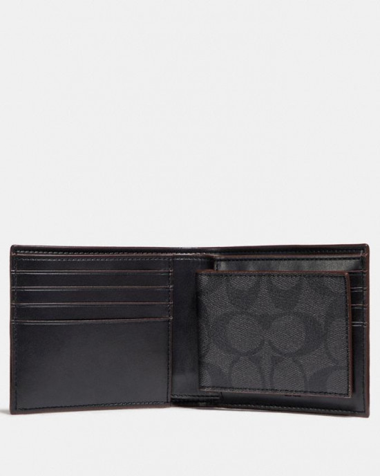 COACH COMPACT ID WALLET IN SIGNATURE (BLACK/BLACK/OXBLOOD)