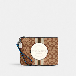 COACH DEMPSEY GALLERY POUCH IN SIGNATURE JACQUARD WITH STRIPE AND COACH PATCH (SILVER/KHAKI/CHALK/PALE GREEN MULTI)