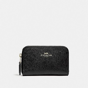 COACH ZIP AROUND COIN CASE (LIGHT GOLD/BLACK)
