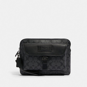 COACH RANGER POUCH IN SIGNATURE CANVAS (QB/CHARCOAL/BLACK) - ETA (ESTIMATED TIME ARRIVAL) MALAYSIA 26TH OCTOBER