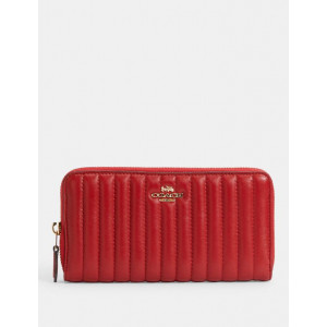 COACH ACCORDION ZIP WALLET WITH LINEAR QUILTING (IM/1941 RED) - ETA (ESTIMATED TIME ARRIVAL) MALAYSIA 7 MARCH