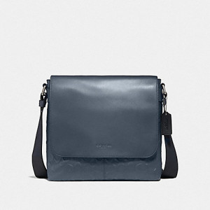 PRE ORDER - COACH CHARLES SMALL MESSENGER IN SIGNATURE LEATHER (NI/MIDNIGHT NAVY)