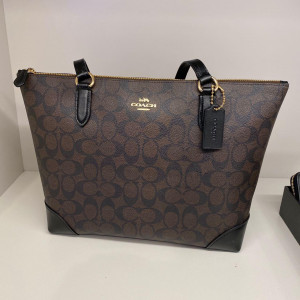 COACH ZIP TOP TOTE IN SIGNATURE CANVAS (IM/BROWN/BLACK) - ETA (ESTIMATED TIME ARRIVAL) MALAYSIA 26TH OCTOBER
