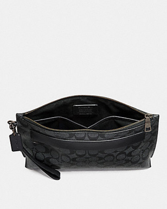 CARRYALL POUCH IN COLORBLOCK SIGNATURE CANVAS (CHARCOAL/BLACK)