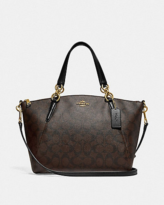 COACH SMALL KELSEY SATCHEL IN SIGNATURE  (BROWN/BLACK) - ETA (ESTIMATED TIME ARRIVAL) MALAYSIA 7 MARCH
