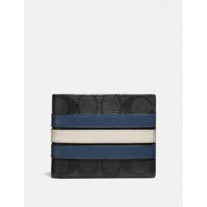 COACH COMPACT 3-IN-1 WALLET IN SIGNATURE WITH VARSITY STRIPE (QB/CHARCOAL/DENIM/CHALK)