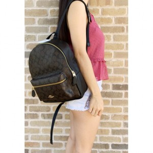 COACH MEDIUM CHARLIE BACKPACK IN SIGNATURE (BROWN/BLACK)