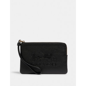 COACH JES CORNER ZIP WRISTLET WITH HORSE AND CARRIAGE (BLACK)
